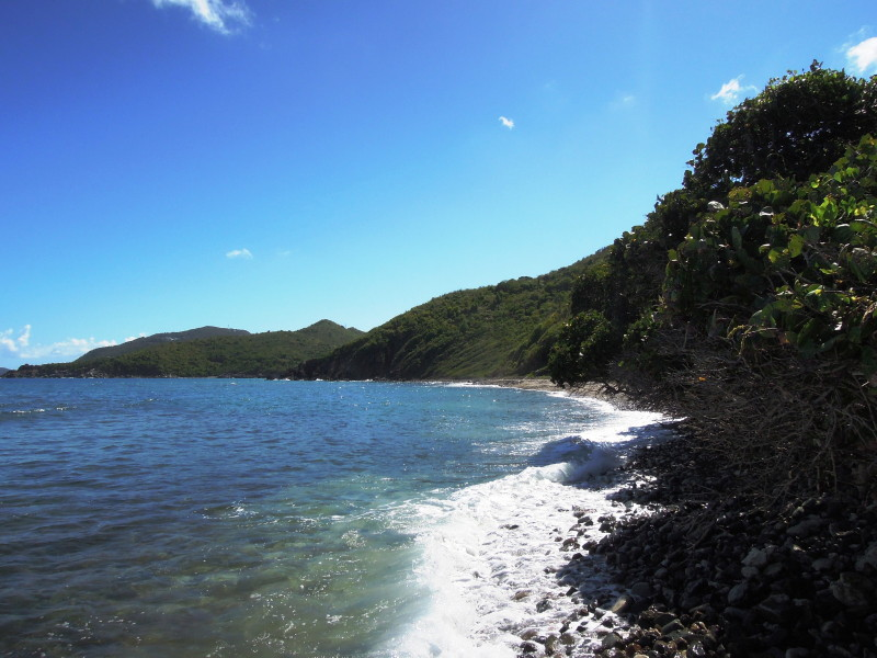 Cooten Bay, Tortola - view looking southeast with Josiah's Bay around the point