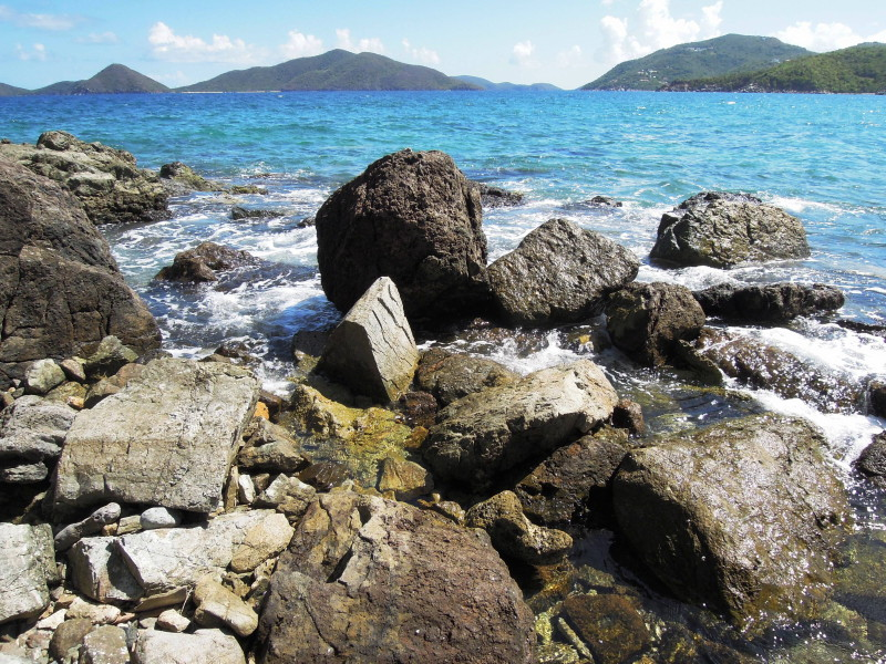 Cooten Bay, Tortola - rocky beach with Guana Island on the left and Great Camanoe in the distance