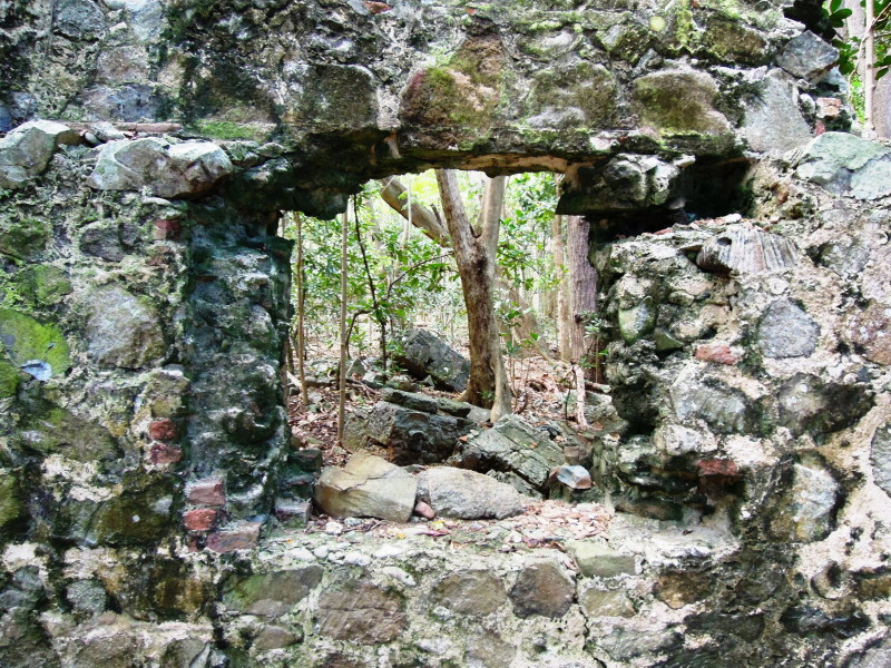 Cooten Bay, Tortola - view through window of ruins