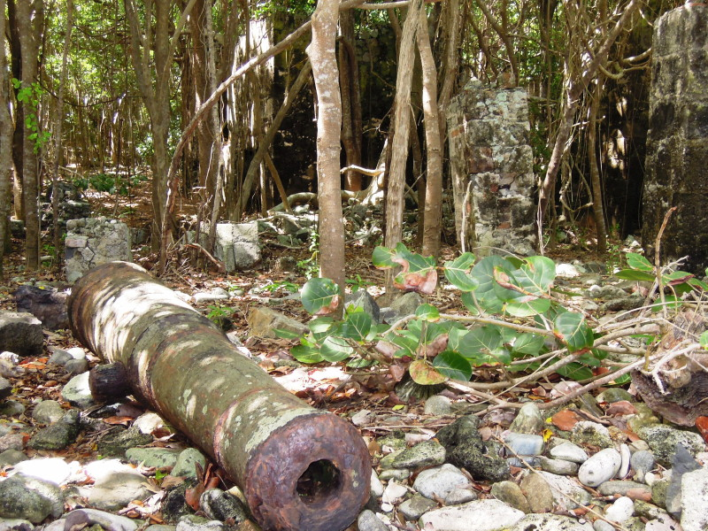 Cooten Bay, Tortola - part of the ruins includes an old cannon