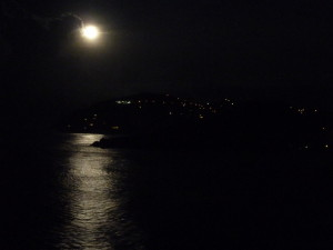 Full moon over Cooten Bay viewed from the pool deck of AnaCapri Estate
