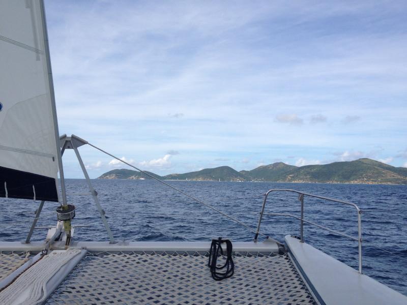 Jost Van Dyke, BVI - Day sail on a catamaran heading to the island