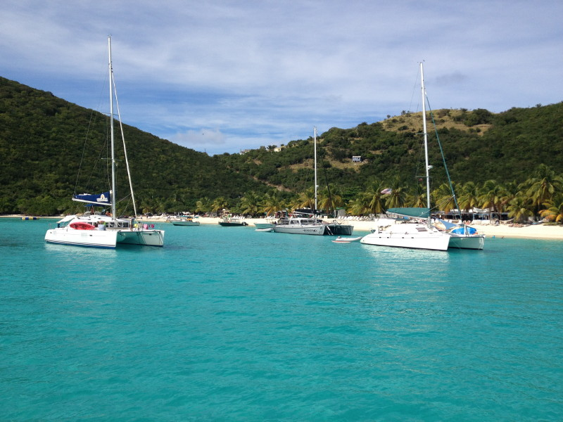 Jost Van Dyke, BVI - White Bay is a popular place to drop anchor and enjoy the day