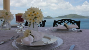 Caribbean wedding - table setting with Guana Island in the background