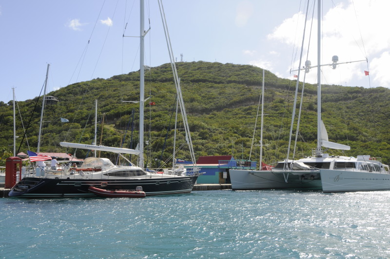 Necker Bell, right, docked in Leverick Bay in the BVI
