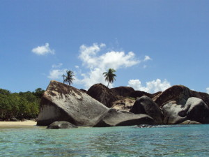 The Baths, Virgin Gorda - view from the water of the boulders close to the entrance of The Baths