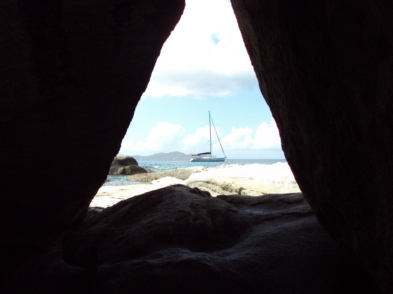 The Baths, Virgin Gorda - view through the boulders in the caves