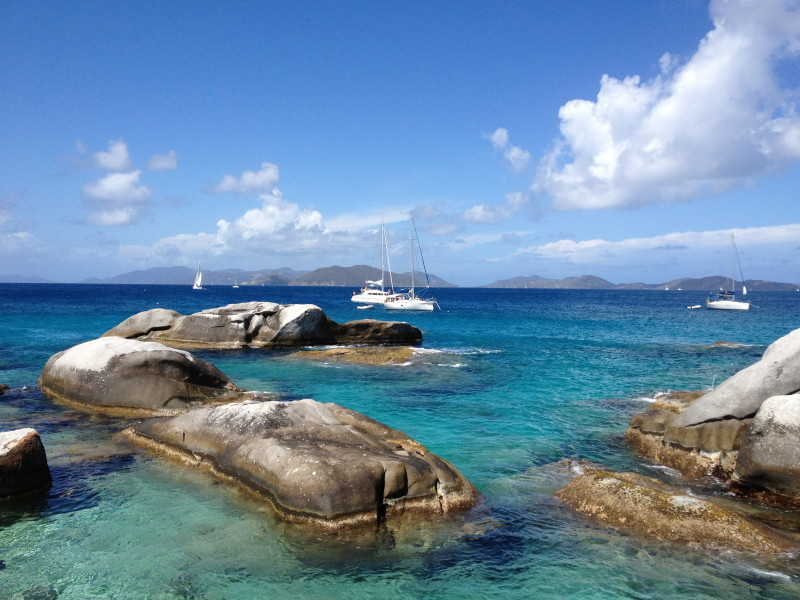 Blue skies and crystal clear waters of The Baths on Virgin Gorda