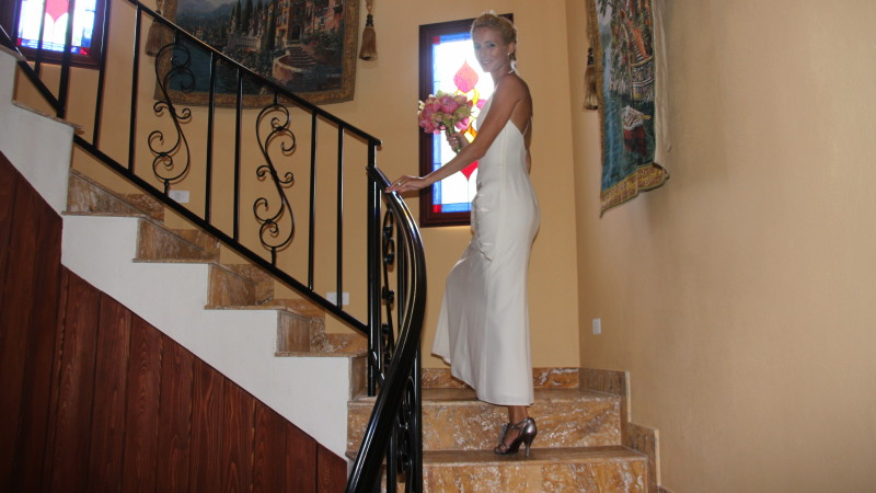 Bride in StairTower of AnaCapri Estate in the BVI