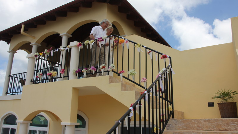 "The AnaCapri Estate stairs from the Master Bedroom Porch to the Pool Deck makes for a wonderful ""aisle"" to introduce the wedding party"